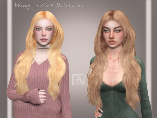The Sims Resource: WINGS TZ0716 Hair Retextured by Sharareh for Sims 4