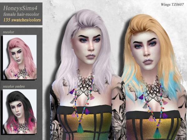 The Sims Resource: WingsTZ0607 hair recolored by HoneysSims4 for Sims 4