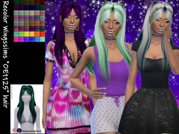 The Sims Resource: Wingssims OE1125 hair recolred by PinkyCustomWorld for Sims 4