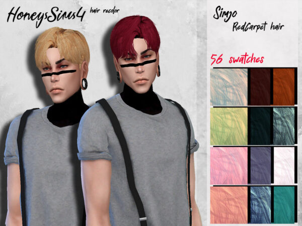 The Sims Resource: KIMSimjo`s RedCarpet Hair recolored by HoneysSims4 for Sims 4