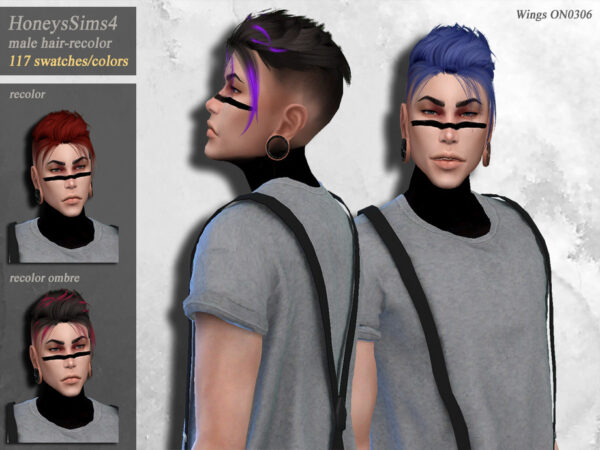 The Sims Resource: Wingssims ON0306 hair recolored by HoneysSims4 for Sims 4