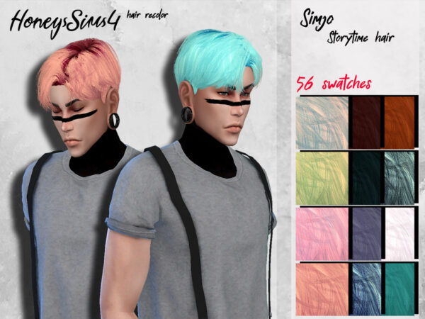 The Sims Resource: KIMSimjo`s Storytime Hair Recolored by HoneysSims4 for Sims 4