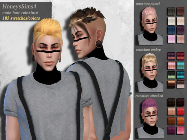 The Sims Resource: Wingssims ON0306 hair retextured by HoneysSims4 for Sims 4