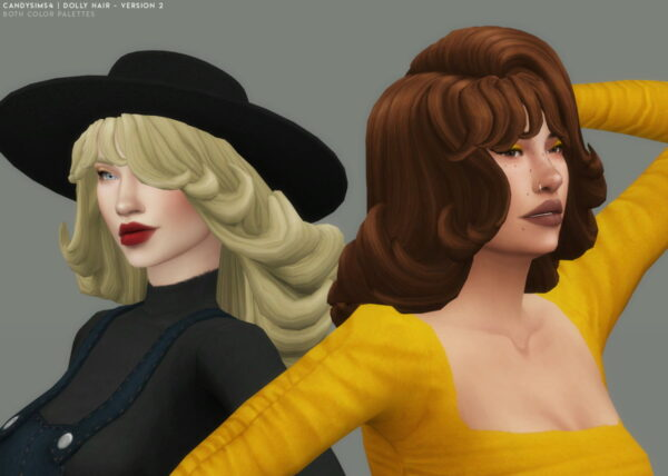 Candy Sims 4: Dolly Hair 2 version for Sims 4