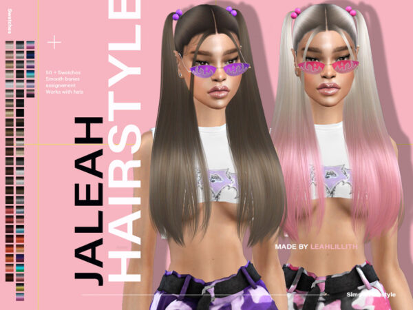 The Sims Resource: Jaleah Hair by LeahLillith for Sims 4