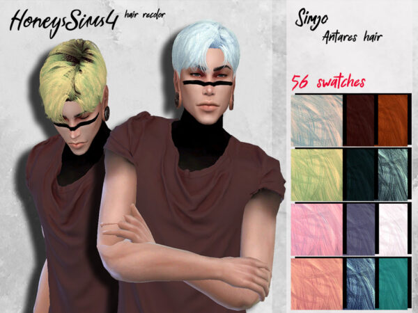 The Sims Resource: Antares Hair reolored by HoneysSims4 for Sims 4