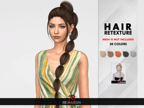 The Sims Resource: Boni Hair Retextured by remaron for Sims 4