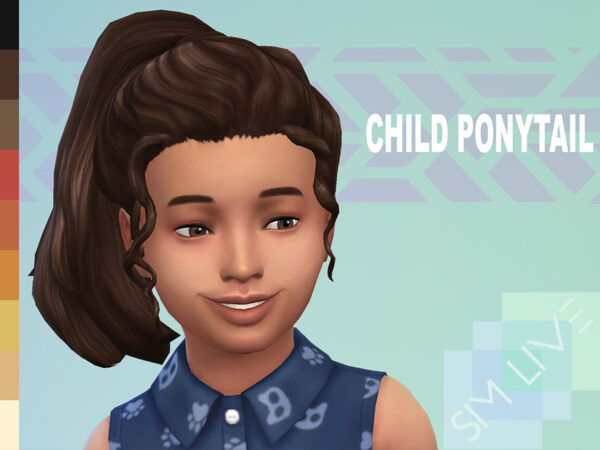 The Sims Resource: Child high ponytail by KikiSimLive for Sims 4