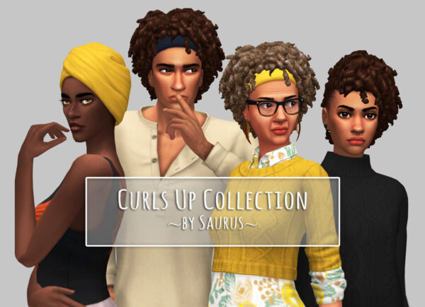 Saurus Sims: Curls Up Hairs Collection for Sims 4
