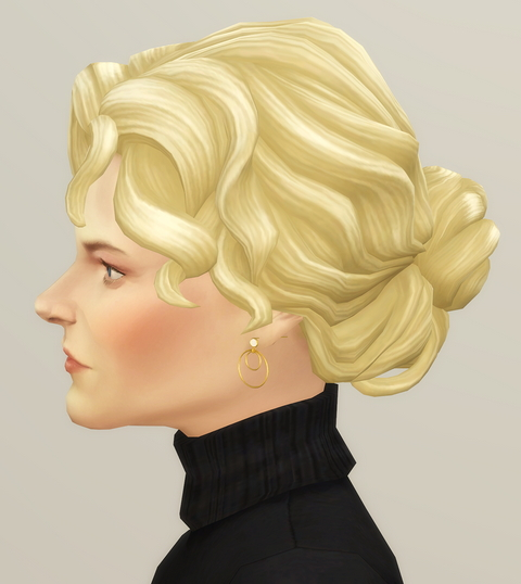 Rusty Nail: Curly Bun F for Sims 4