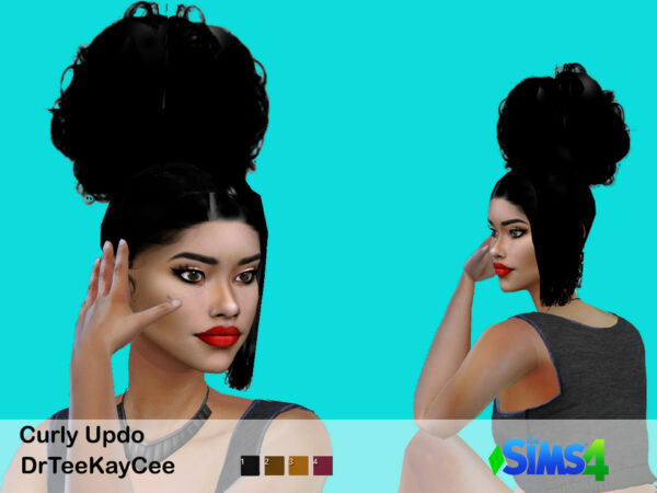 The Sims Resource: Curly Hair Updo by drteekaycee for Sims 4