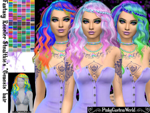 The Sims Resource: Fantasy recolor of Stealthics Genesis hair by PinkyCustomWorld for Sims 4