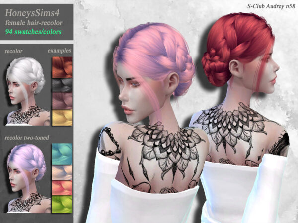 The Sims Resource: S Club`s Audrey N58 hair recolored by HoneysSims4 for Sims 4