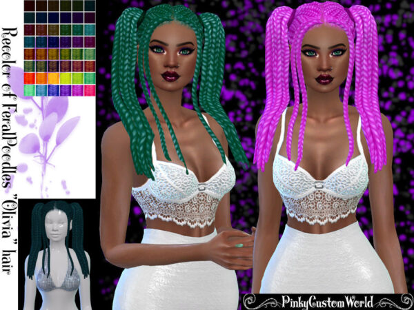 The Sims Resource: FeralPoodles`s Olivia hair recolored for Sims 4