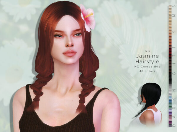 The Sims Resource: Jasmine Hairstyle by DarkNighTt for Sims 4