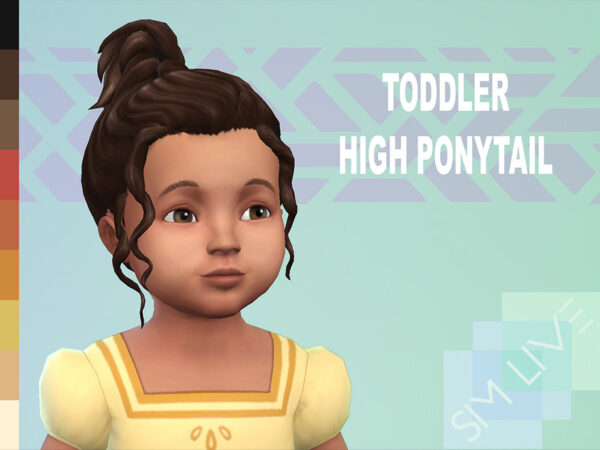 The Sims Resource: High ponytail for toddler by KikiSimLive for Sims 4