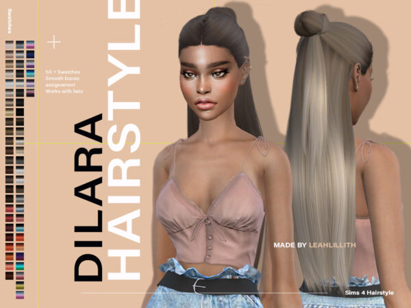 The Sims Resource: Dilara Hairstyle by LeahLillith for Sims 4