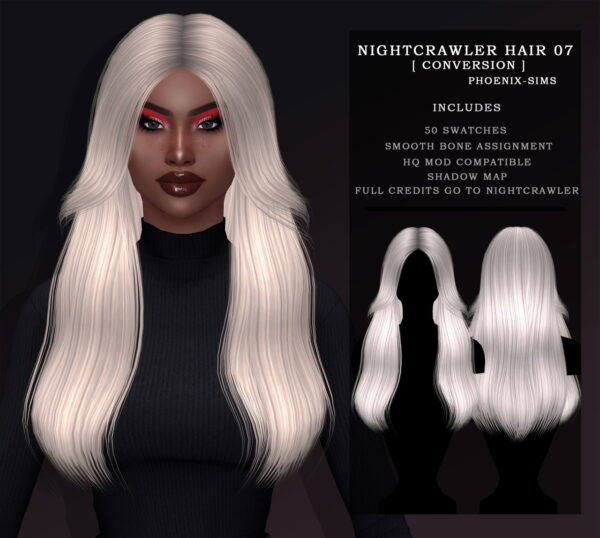 Phoenix Sims: Lindsey Hair and Nightcrawler 07 hair retextured for Sims 4