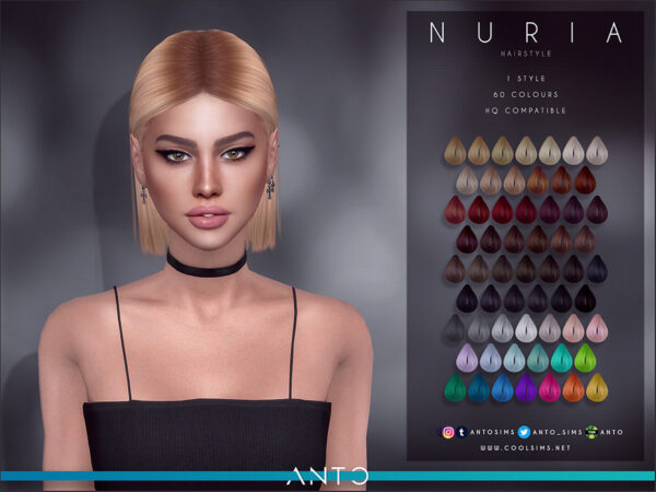 The Sims Resource: Nuria Hair by Anto for Sims 4