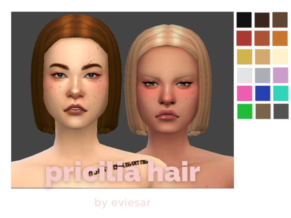 The Sims Resource: Priclia Hair by EvieSAR for Sims 4
