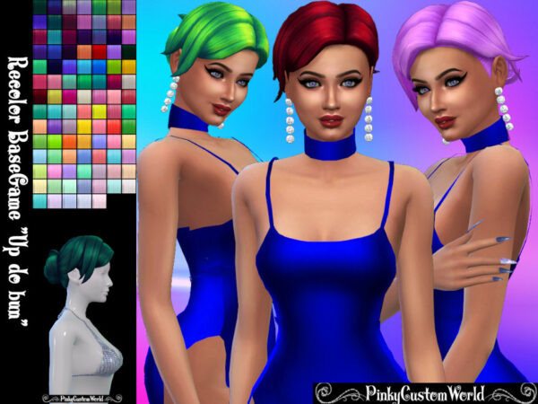The Sims Resource: Recolor of Up do bun hair by PinkyCustomWorld for Sims 4