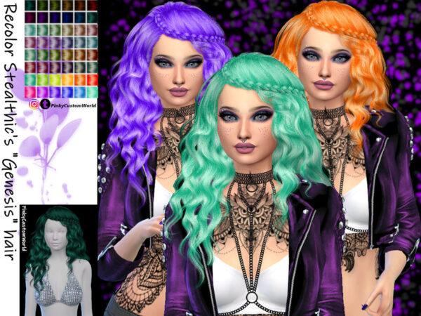The Sims Resource: Stealthics Genesis hair recolored by PinkyCustomWorld for Sims 4