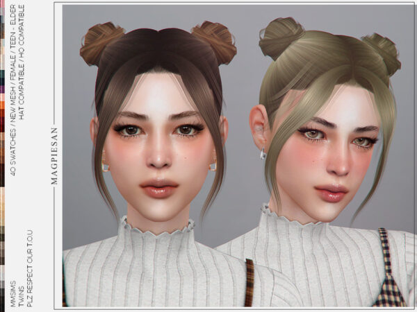 The Sims Resource: Twins Hair by magpiesan for Sims 4