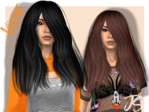 The Sims Resource: Violet Hairstyle by JavaSims for Sims 4