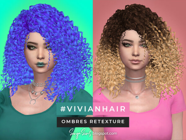 The Sims Resource: Vivian Hair   Ombres retextured by SonyaSimsCC for Sims 4