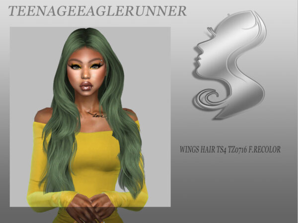 The Sims Resource: WINGS HAIR TZ0716 F Hair Recolored by Teenageeaglerunner for Sims 4