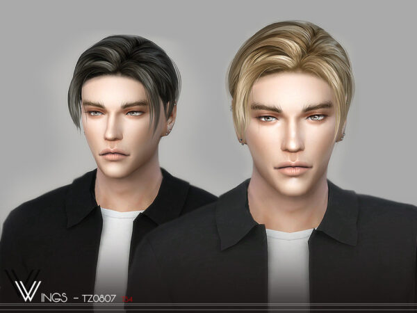 The Sims Resource: WINGS TZ0807 hair for Sims 4