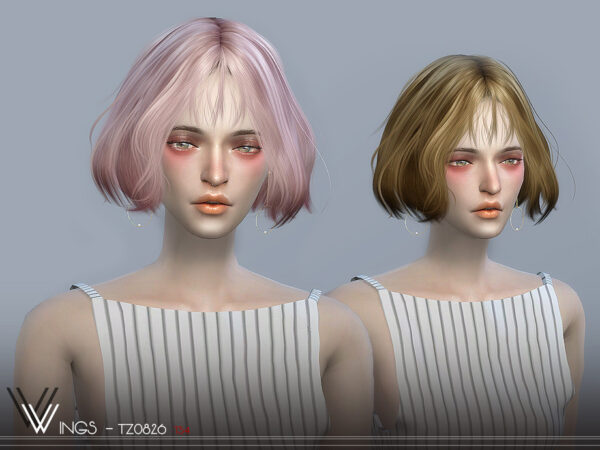 The Sims Resource: WINGS TZ0826 hair for Sims 4