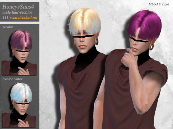 The Sims Resource: Musae`s Tuyo Hair Recolored by HoneysSims4 for Sims 4