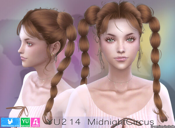 NewSea: YU 214 Midnight Circus Hair for Sims 4