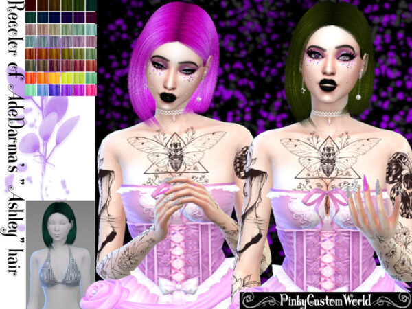 The Sims Resource: Ade Darmas Ashley hair recolored by PinkyCustomWorld for Sims 4