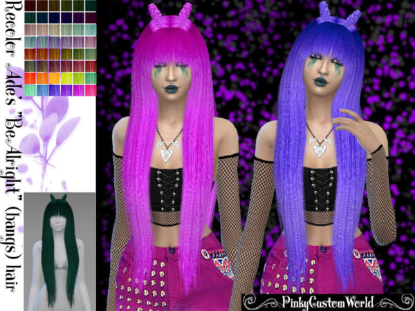 The Sims Resource: Ade Darmas BeAlright Hair Recolored by PinkyCustomWorld for Sims 4
