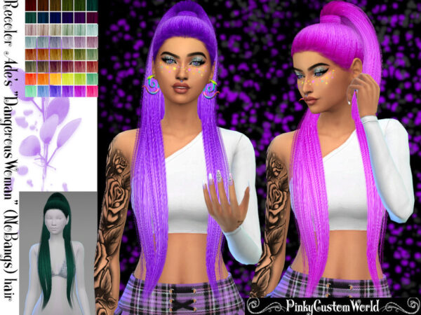 The Sims Resource: Ades Dangerous Woman Hair Reclored by PinkyCustomWorld for Sims 4