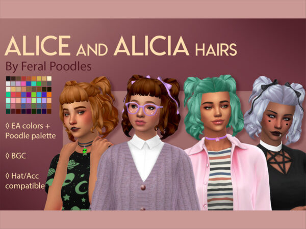 The Sims Resource: Alice Hair by feralpoodles for Sims 4