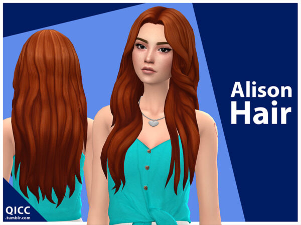 The Sims Resource: Alison Hair by qicc for Sims 4
