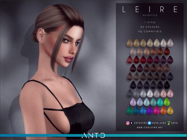 The Sims Resource: Leire Hair by Anto for Sims 4