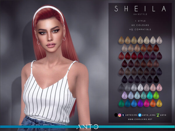 The Sims Resource: Sheila Hair by Anto for Sims 4