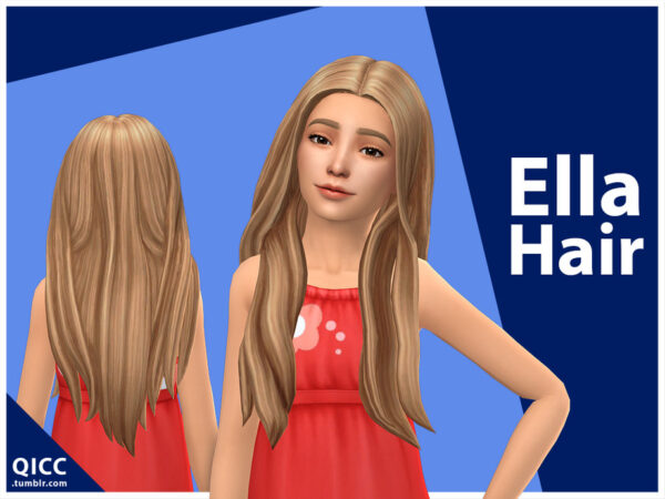 The Sims Resource: Ella Hair by qicc for Sims 4