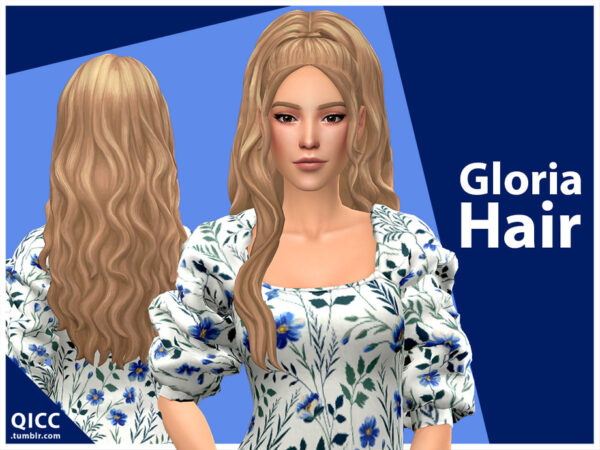 The Sims Resource: Gloria Hair Set by qicc for Sims 4