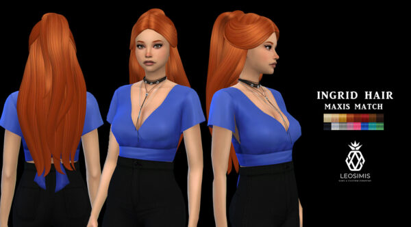 Leo 4 Sims: Ingrid hair recolored for Sims 4