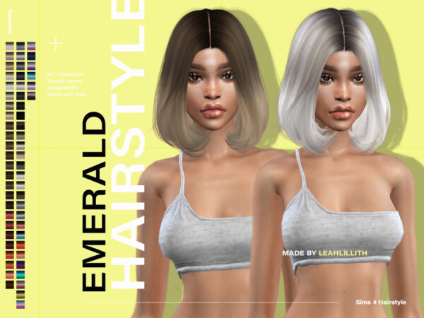 The Sims Resource: Emerald Hairstyle by LeahLillith for Sims 4