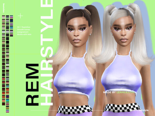 The Sims Resource: REM Hairstyle by  LeahLillith for Sims 4