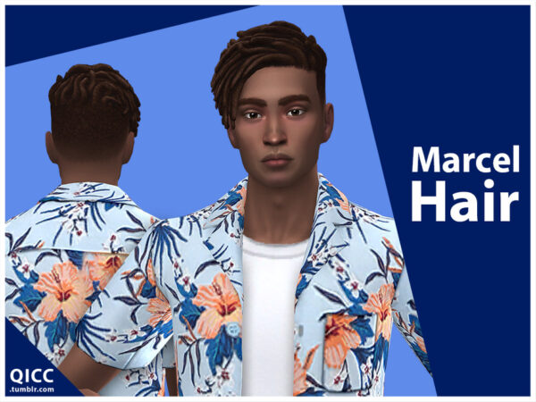 The Sims Resource: Marcel Hair by qicc for Sims 4