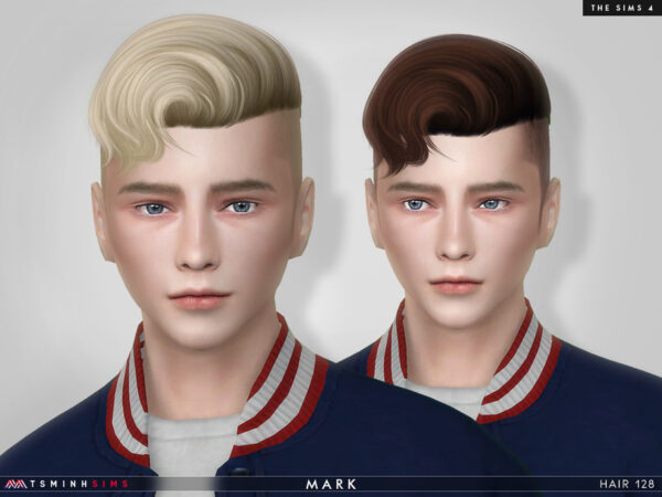 The Sims Resource: Mark Hair 128 by TsminhSims for Sims 4