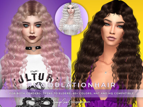 Sonya Sims: Exalted, Modulation and Cristina Hair for Sims 4
