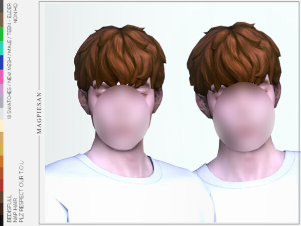 The Sims Resource: Nap hair by magpiesan for Sims 4